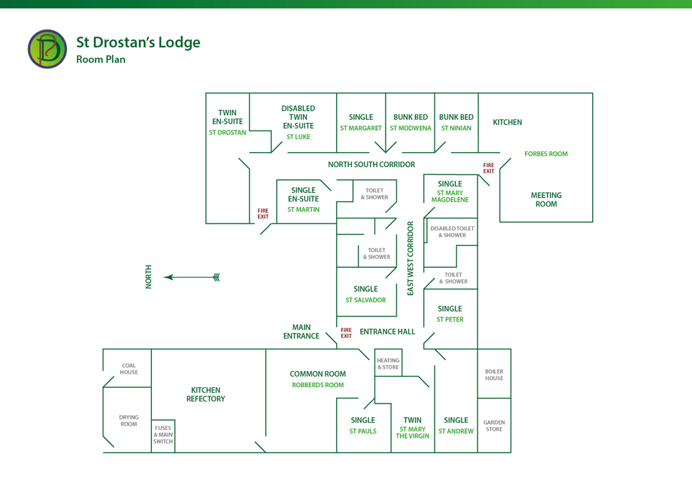 Room plan of St Drostan's Lodge